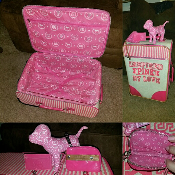 Gray Marl Victorias Secret PINK Travel Carry-On VACAY READY Wheelie Suitcase